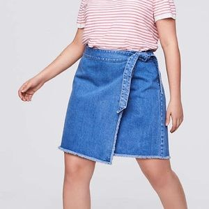Loft Frayed Denim Wrap Skirt